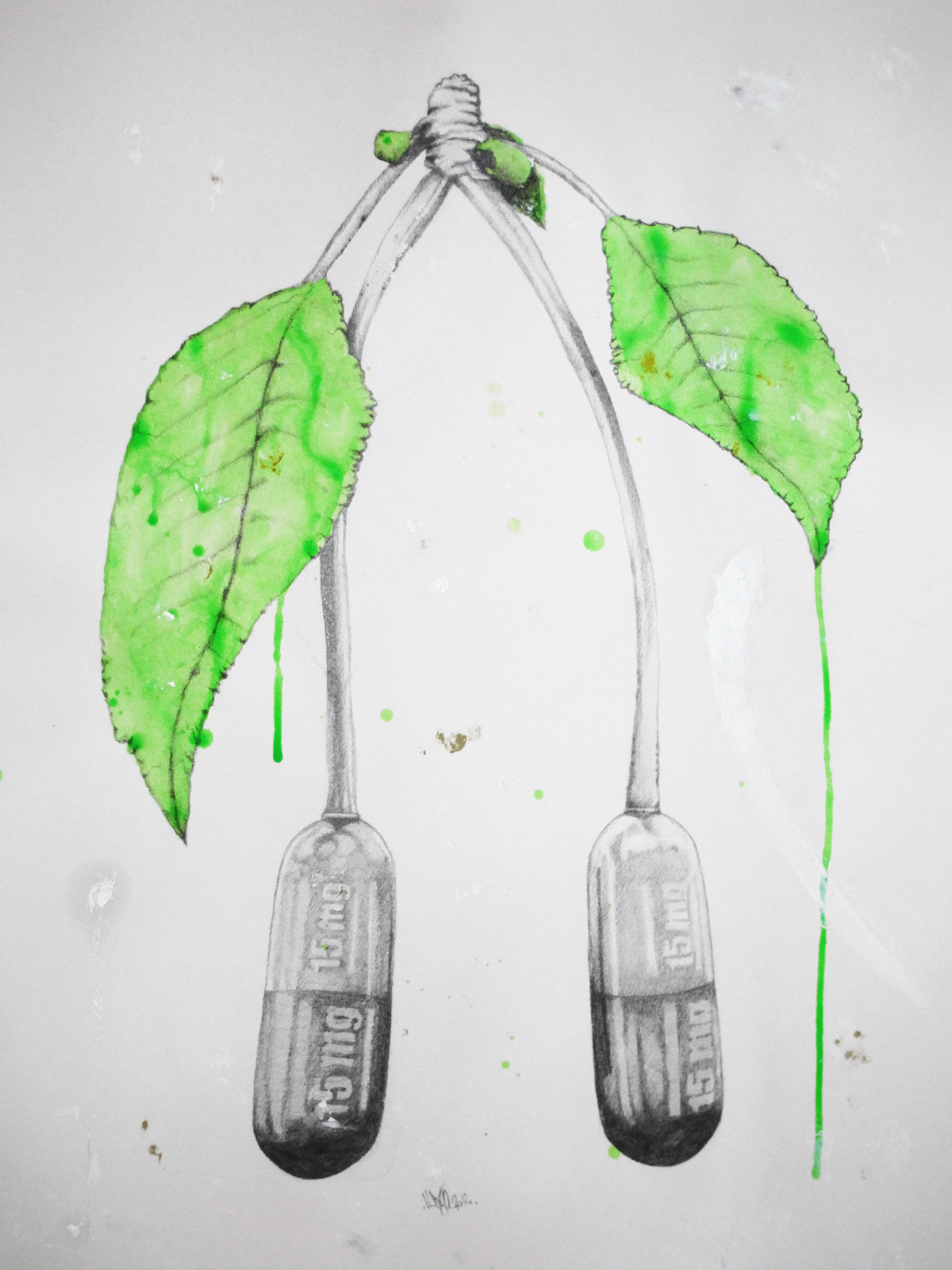 Cherry Pills Graphite/Oil Painting/Acrylic 65x50cm 2012