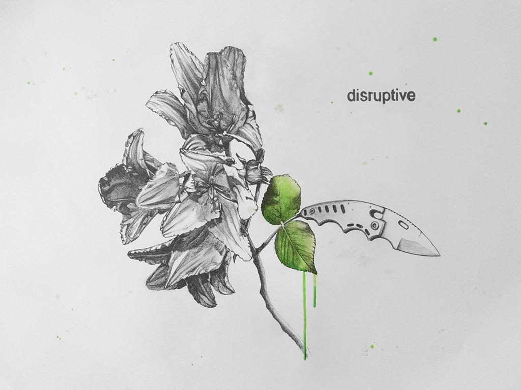 disruptive Graphite/Acrylic 56x76cm 2018
